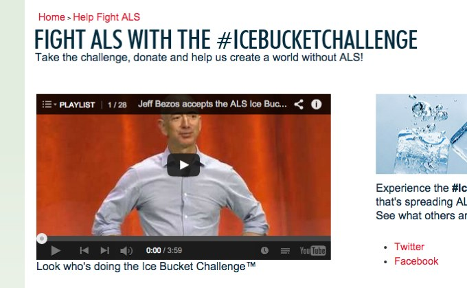 """This screengrab from the ALSA website shows a trademark symbol next to the phrase """"Ice Bucket Challenge."""" ALSA has filed for protection over the phrase, though the nonprofit didn't create the campaign."""