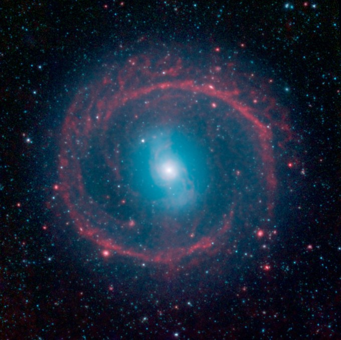 """It might look like as spoked wheel or even a """"Chakram"""" circular weapon wielded by television's fictional warrior Xena, but this ringed galaxy is actually a vast place of stellar life. A newly released image from NASA's Spitzer Space Telescope shows the galaxy NGC 1291. Though the galaxy is quite old, roughly 12 billion years, it is marked by an unusual ring where newborn stars are still bursting to life."""
