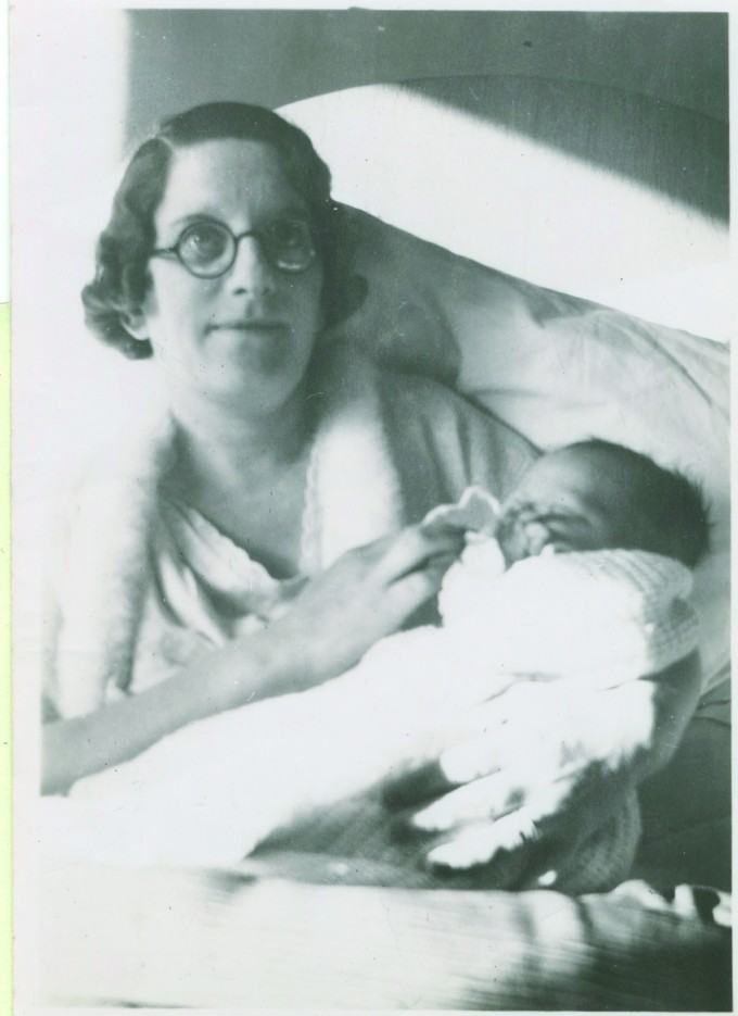 John with his mother.