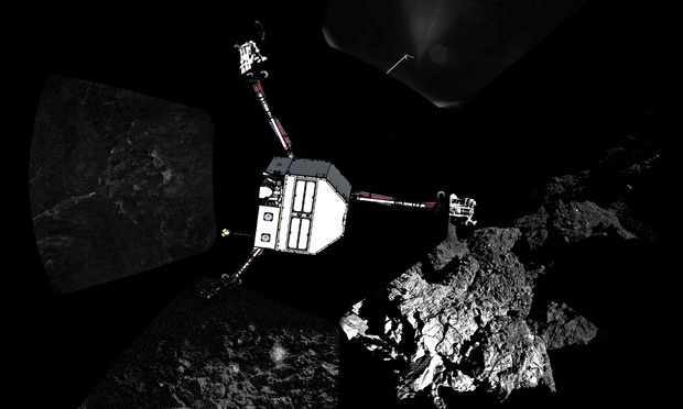 How Esa scientists believe Philae has landed on the comet – on its side. Photograph: European Space Agency