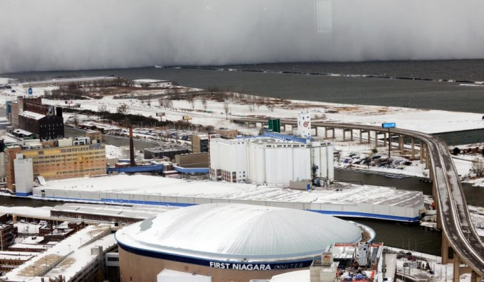 A lake-effect snow storm with freezing temperatures produces a wall of snow travelling over Lake Erie into Buffalo, New York. GARY WIEPERT/REUTERS