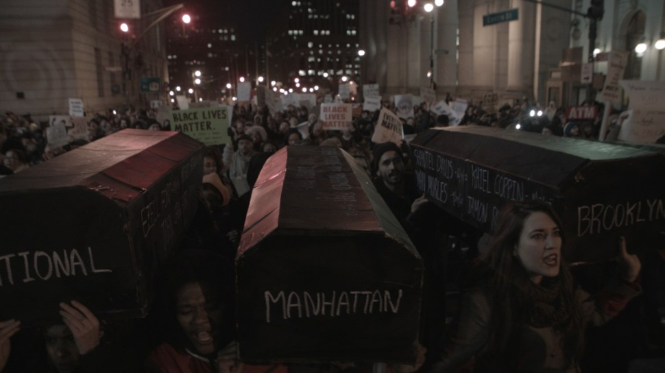 Protesters marching in New York City on the night of December 11, 2014. Photo: Aaron-Stewart Ahn.