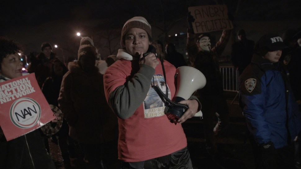 Erica Garner, 24, daughter of Eric Garner, leading a march in protest of police killings of black men like her father. Photo: Aaron-Stewart Ahn.