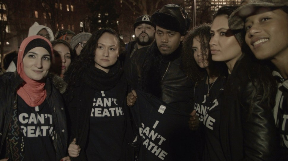 Rapper Nas with emerging leaders of  the protest movement. Photo: Aaron-Stewart Ahn.