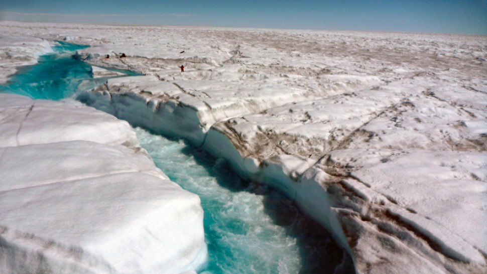 A river of meltwater flowing across Greenland's ice sheet. Image UCLA/Laurence C. Smith