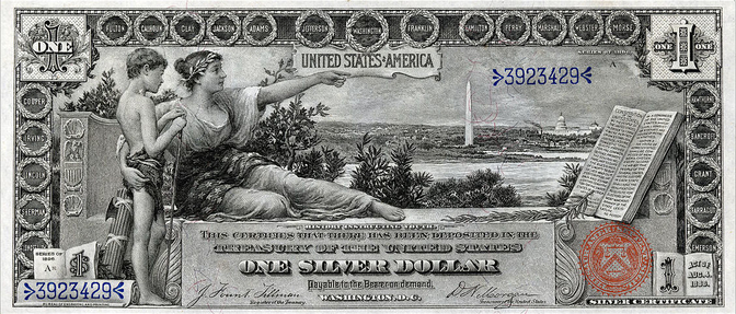 The $1 note, with artwork by Will H. Low. (Photo: National Numismatic Collection at the Smithsonian Institution)