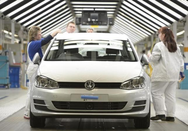 A VW Golf VII car is pictured in a production line at the plant of German carmaker Volkswagen in Wolfsburg, Germany, 2013. REUTERS