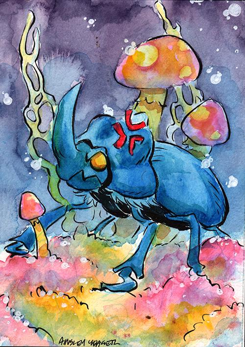 Rhino beetle fan art by Ainsley Yeager