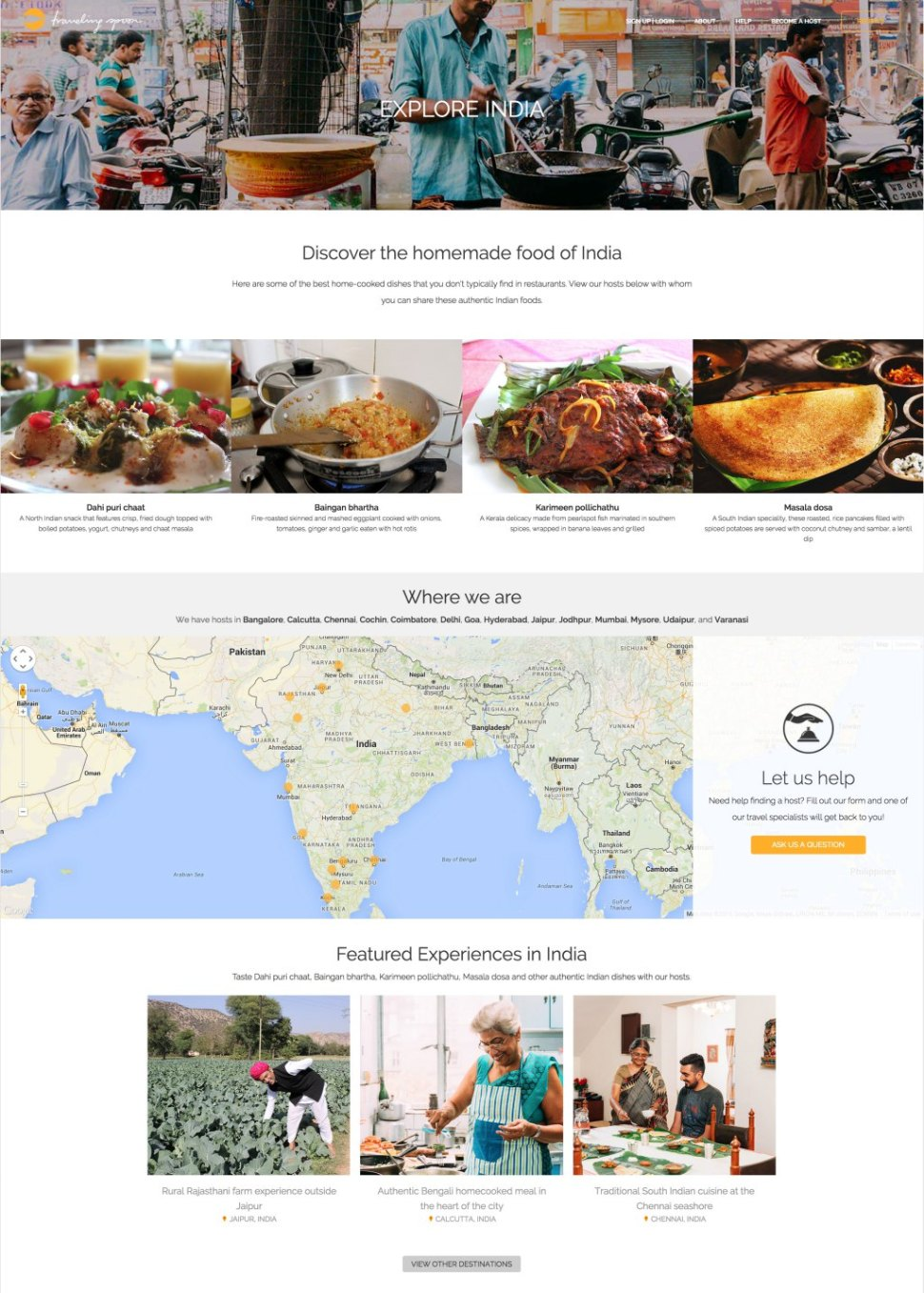 Sample country page on Traveling Spoon website: India.