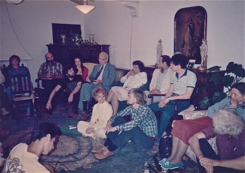 Living room scene From L:  Andy Weil, Terence McKenna, Kat Harrison McKenna, Walter Houston Clark, Shari Lewis (Jeremy Tarcher's wife), 2 unidentified, Jonathan Ott, Ann Shulgin, Sasha Shulgin