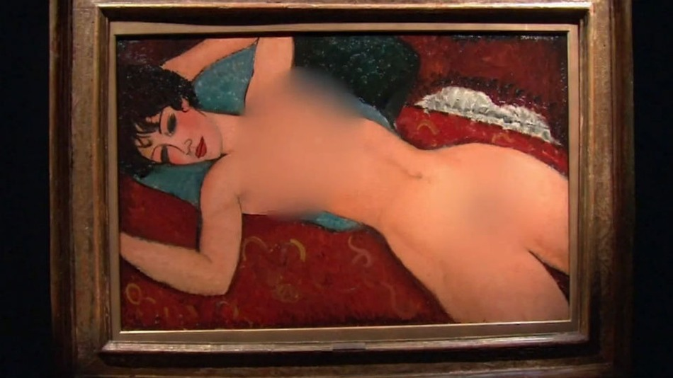 "CNBC  blurred parts of Modigliani's masterpiece, ""Nu Couche."""