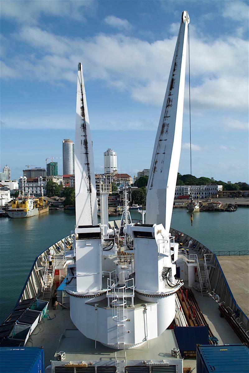 Cranes on the bow of the R/V Marion Dufresne, in Colombo harbor