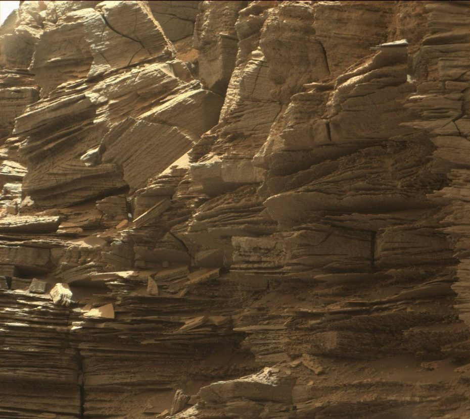 This closeup view from NASA's Curiosity rover shows finely layered rocks, deposited by wind long ago as migrating sand dunes. Image Credit: NASA/JPL-Caltech/MSSS