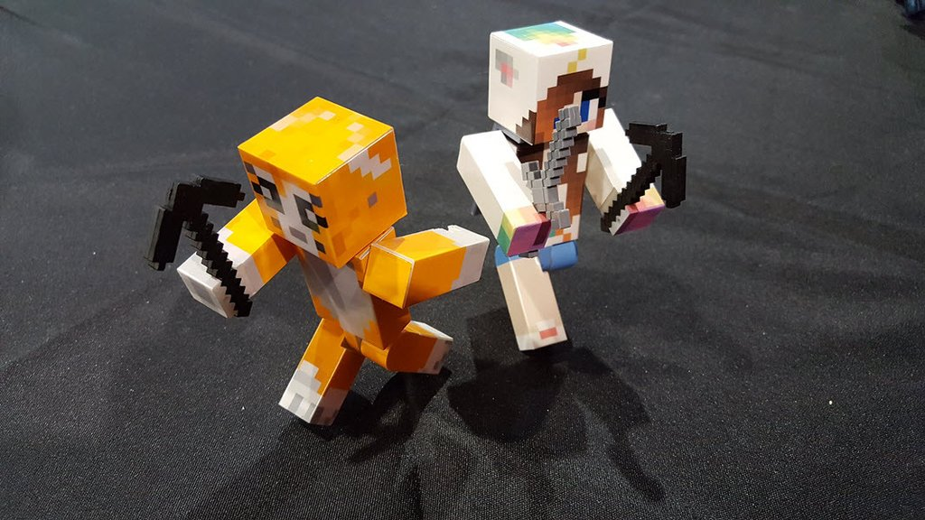 Custom Minecraft figs with glowing eyes and swords / Boing Boing