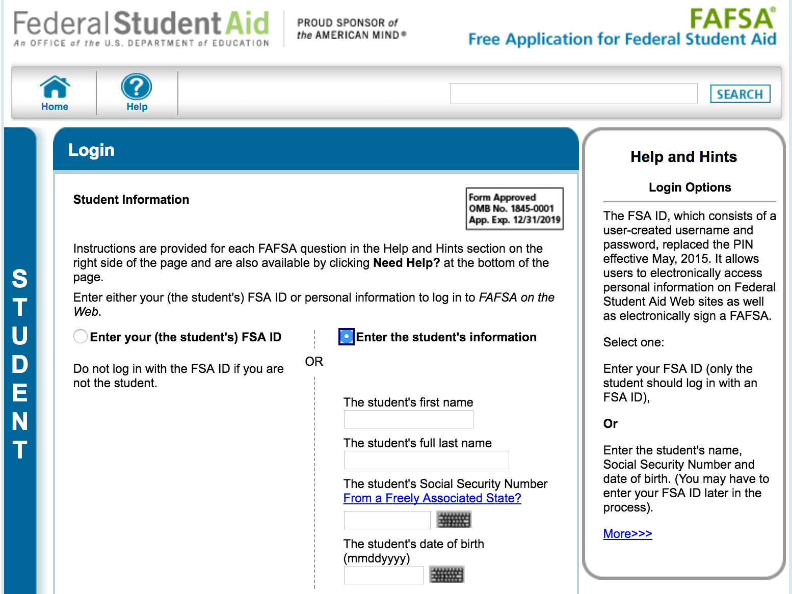 Once you have a student's name, birthday and SSN, the US Department