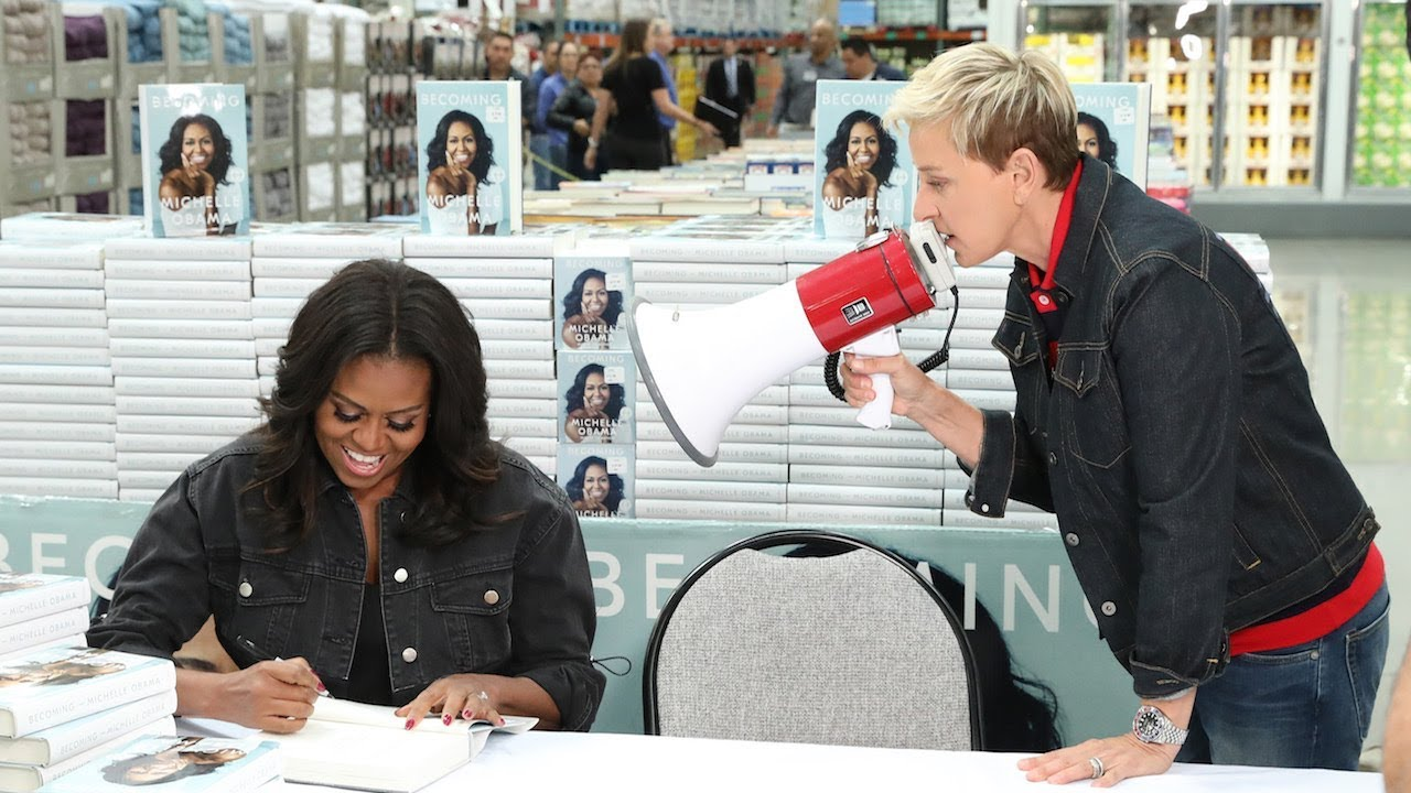 Watch Ellen punk Michelle Obama while she's signing books at