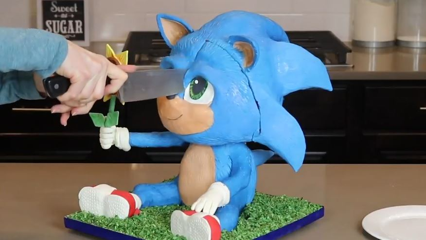 Watch Chef Make Baby Sonic Cake Then Slice Its Adorable Face Off
