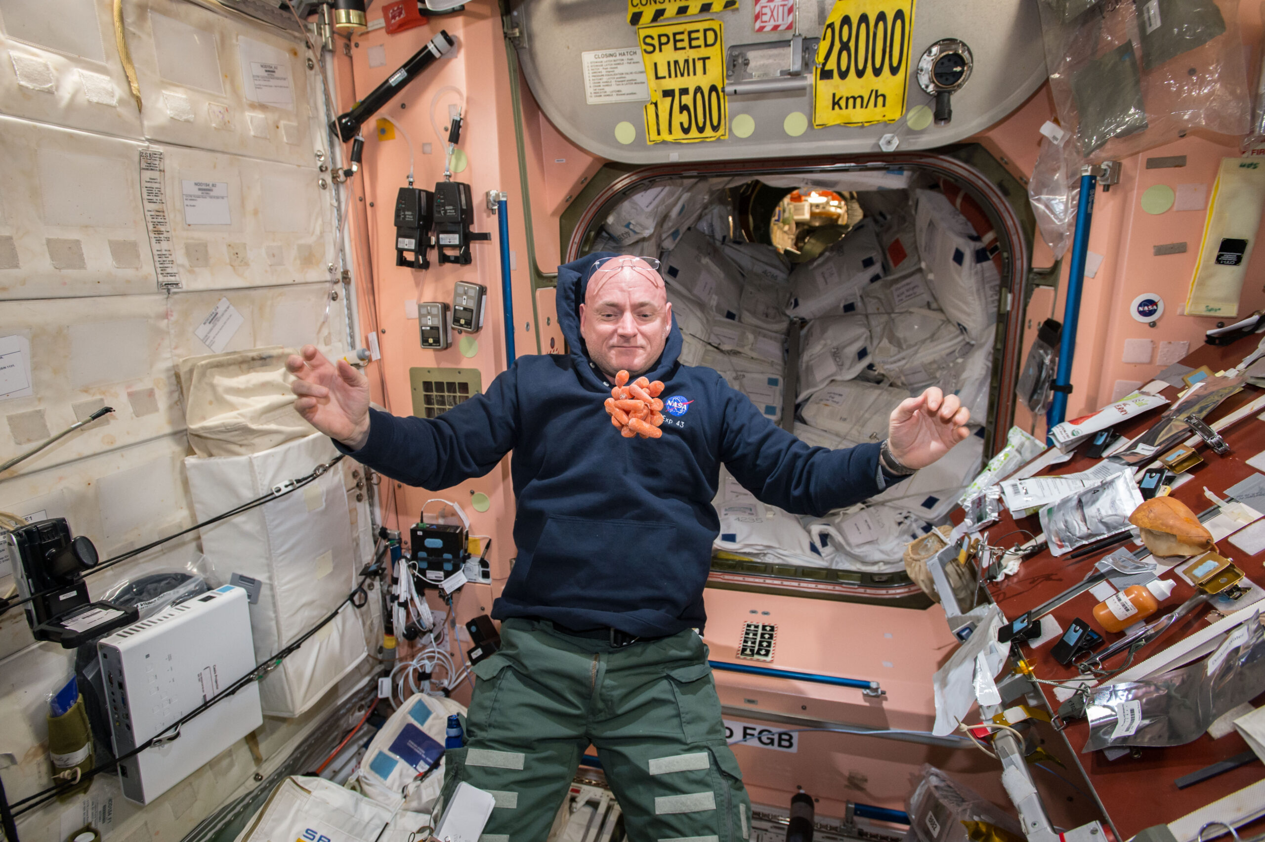 Scott Kelly watches a bunch of fresh carrots