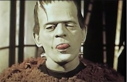 Fun and rare 1939 color footage of Boris Karloff goofing as Frankenstein's monster