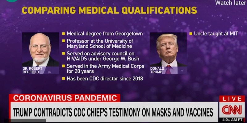 CNN graphic shows Trump woefully inadequate in pissing match with CDC Director