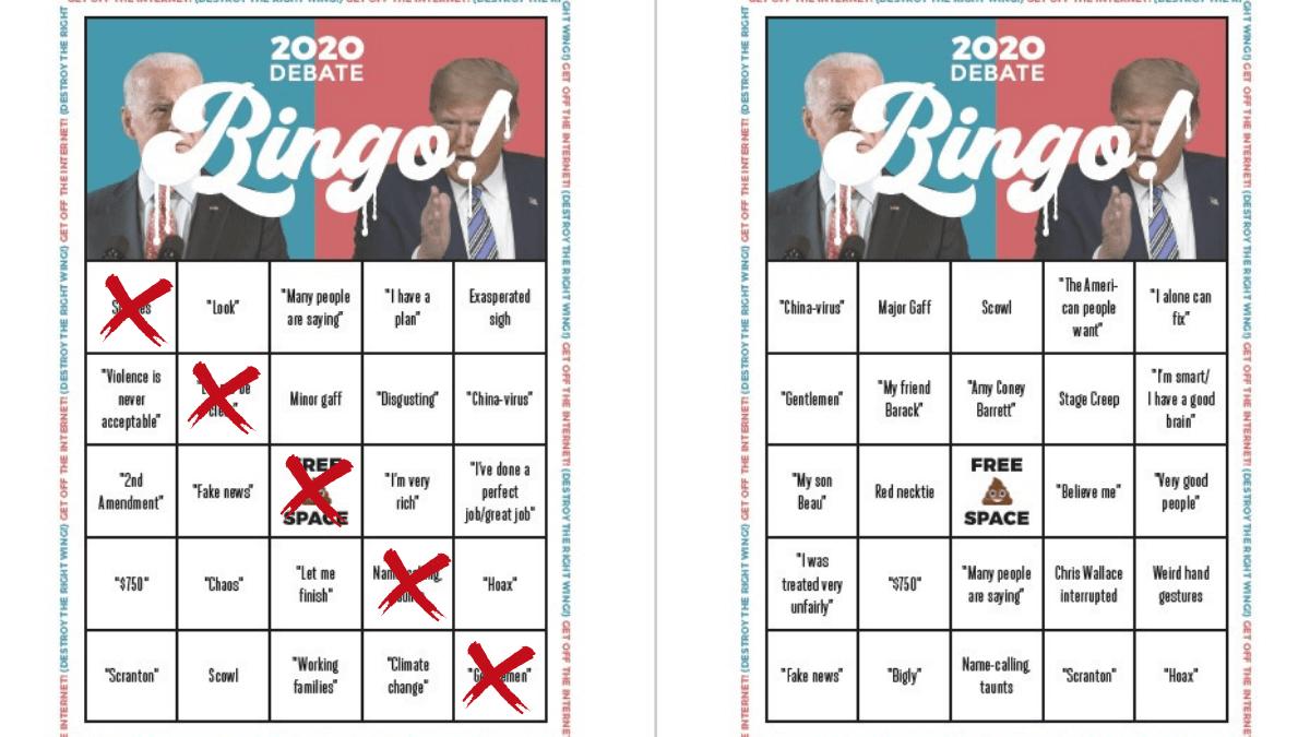 Play 2020 Debate BINGO (download + print all 8 cards) | Boing Boing