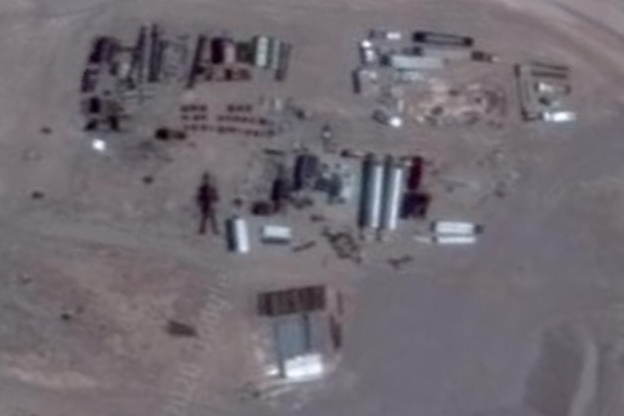 Satellite imagery of giant robot under construction at Area 51