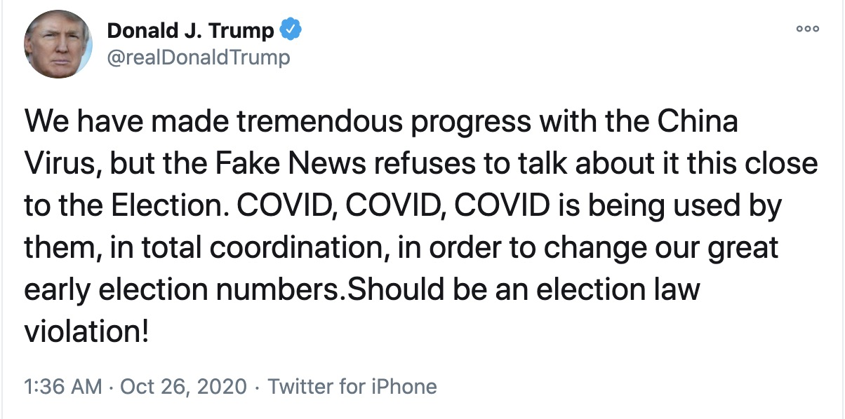News about Covid-19 should be illegal, tweets Trump