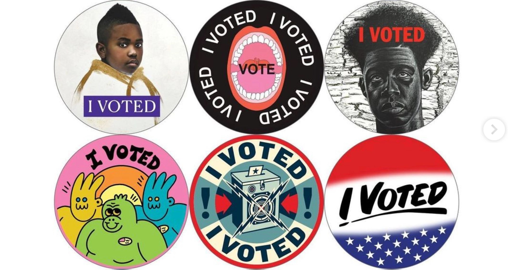 """I Voted"" stickers redesigned by 48 artists"
