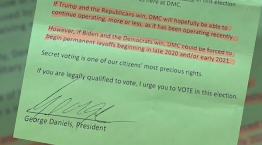 """Company president's note in employees' paychecks: if Biden wins, """"permanent layoffs"""" may be coming 
