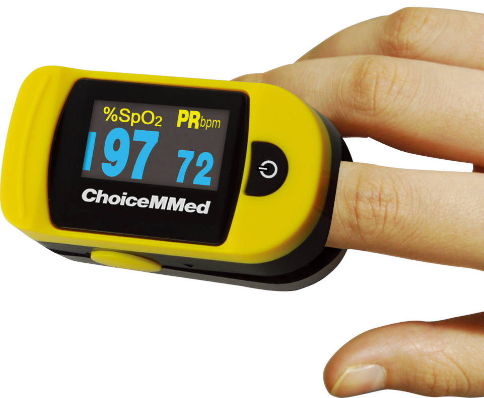 Photo of a pulse oximeter on a finger