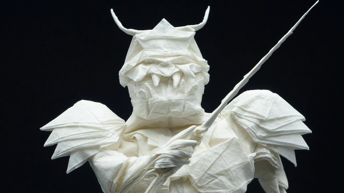 Samurai created from a single sheet of paper, folded for 50 hours