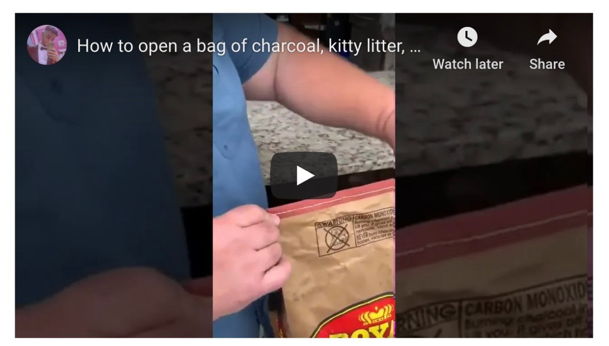 Hot damn! This is how to open a bag of charcoal briquettes   Boing Boing