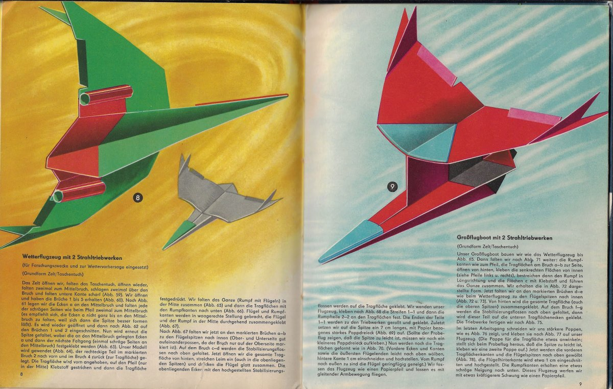 Look at the incredible illustrations in this 1963 paper airplane book | Boing Boing