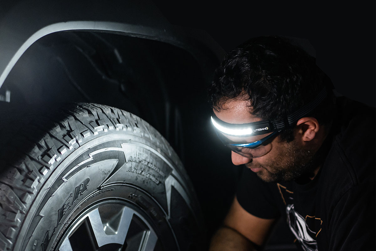 This ultra-light headlamp has a 210-degree arc of light and 32 hours of battery