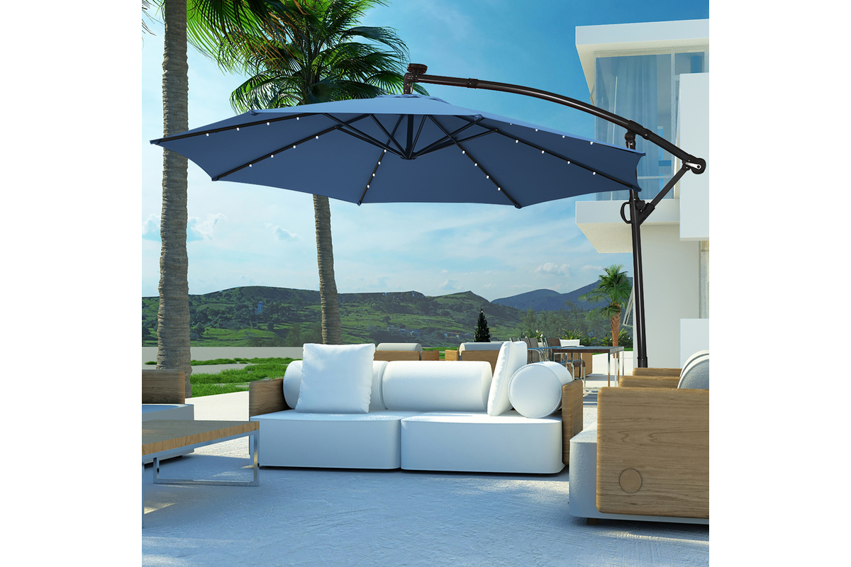 This 10-foot solar-powered umbrella blocks the sun and lights the night with LEDs | Boing Boing