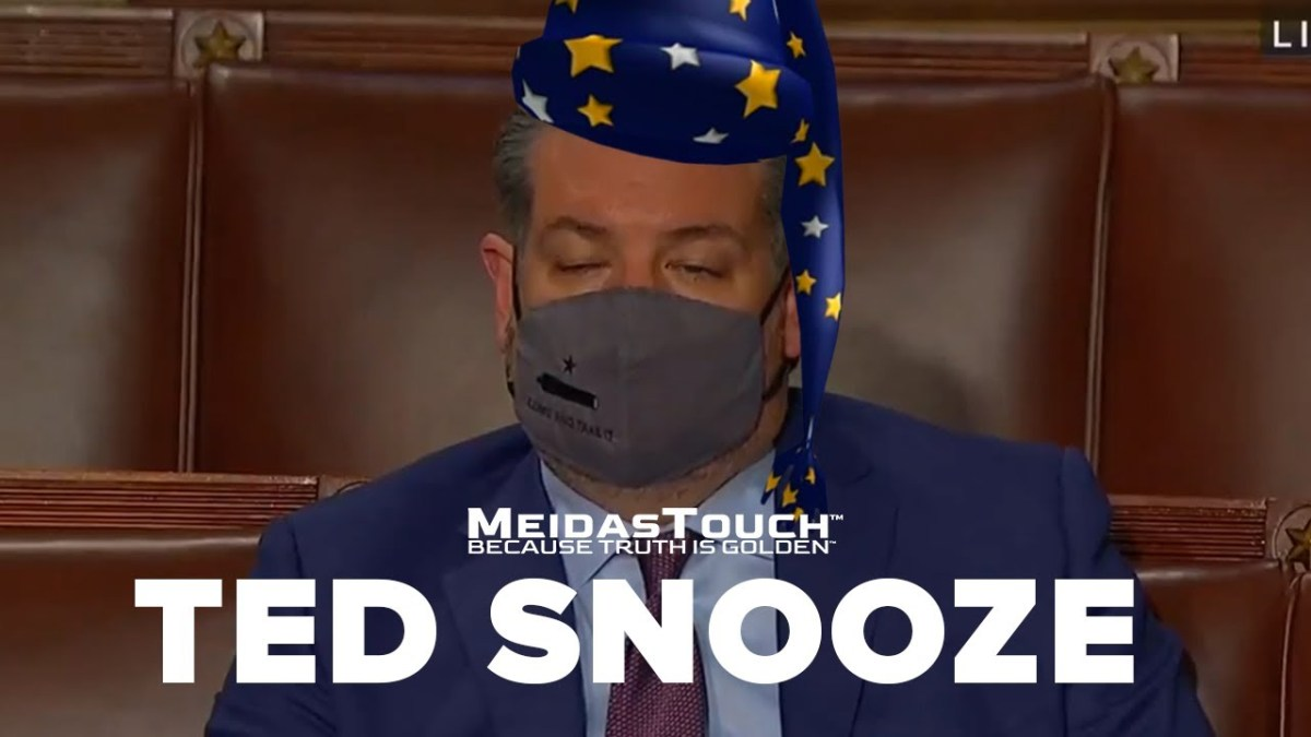 "Here is an amusing take on ""Lyin' Sleepy Ted"" who couldn't handle last night's big boy hours 