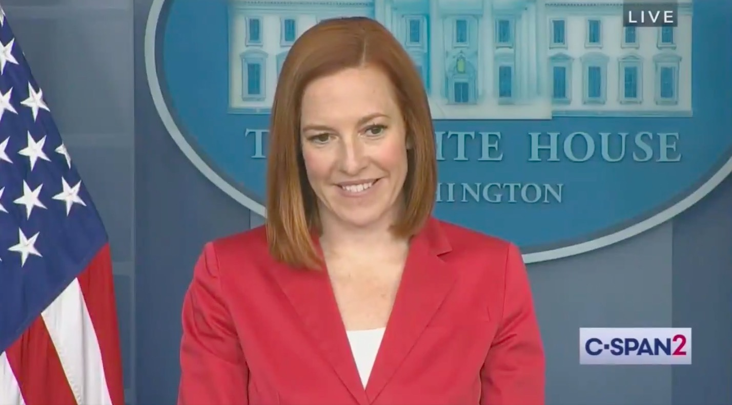 """Jen Psaki cuts through the BS of a Newsmax """"people say"""" question by pinning reporter down for a..."""