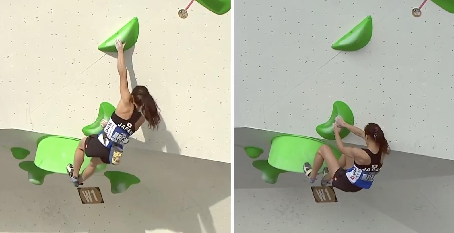 Watch climber Akiyo Noguchi crawl across the ceiling