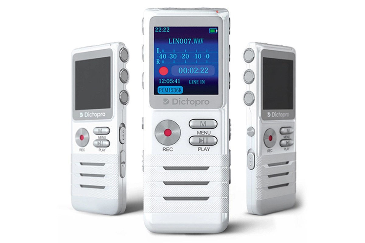 This digital voice-activated recorder captures audio notes, interviews, and more