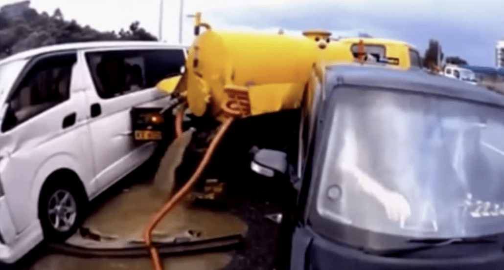 Sequence of rear-end collisions causes tanker to gush a brown liquid onto pavement | Boing Boing