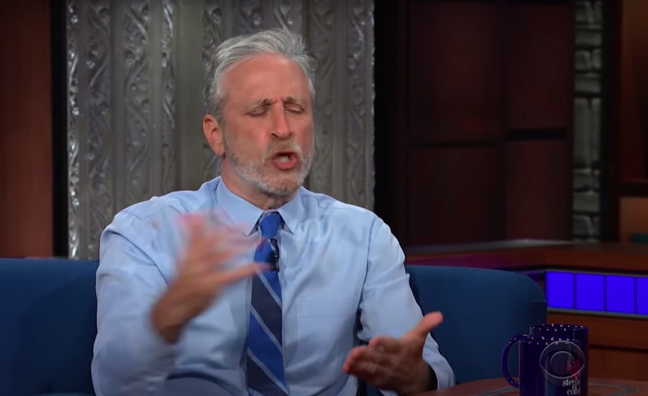 John Stewart argues passionately for the lab-grown Covid theory as Colbert laughs nervously
