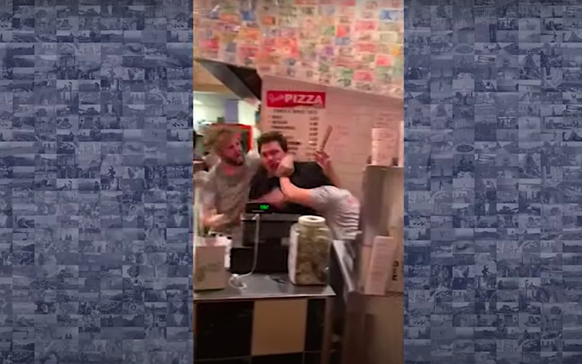Watch this incredible NY pizza parlor brawl that looks like a bar fight you'd see in a movie | Boing Boing