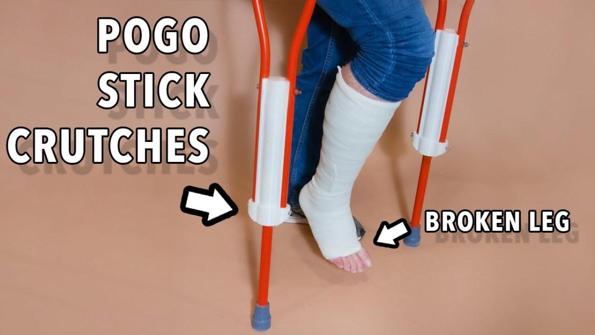 A broken leg made extra fun with pogo stick crutches | Boing Boing