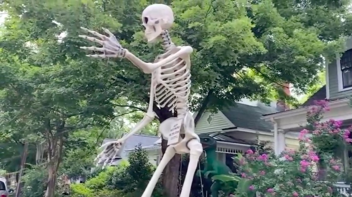 """A man puts huge skeleton in his front yard with a message for the unvaxxed: """"See you soon, idiots!""""   Boing Boing"""