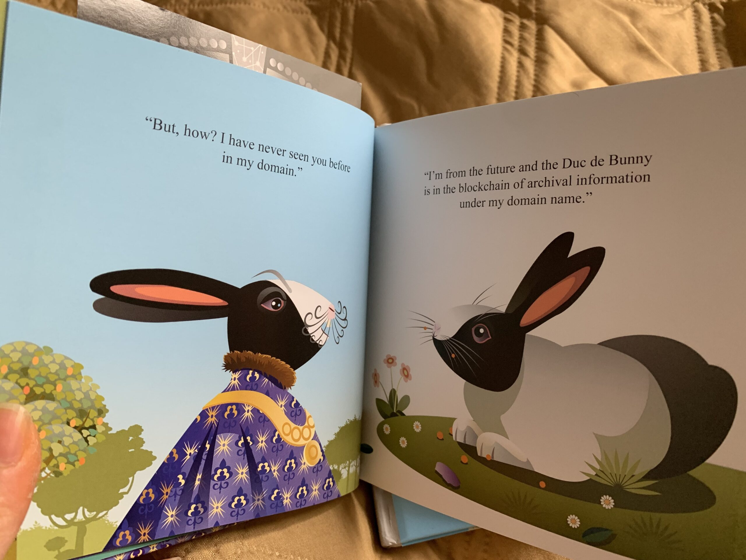 Check out this weird kid's book about a time traveling rabbit who invents the blockchain
