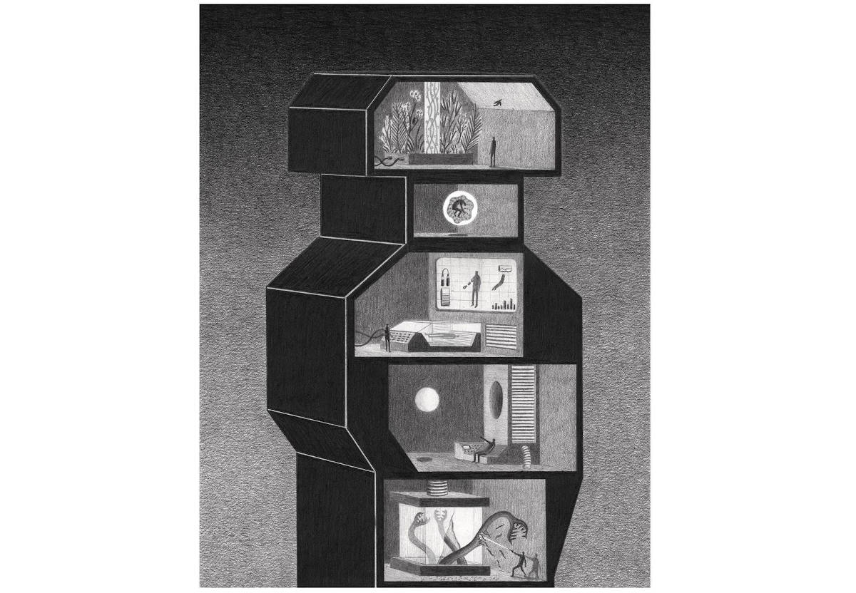 Artwork by James Lipnickas: A graphite drawing of a sci-fi tower