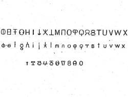 The alphabet of Scott Perky's bi-directional font