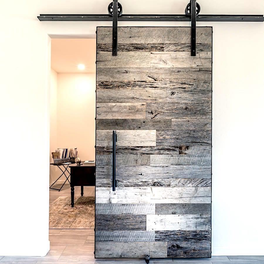 acheter une porte en bois ancien gris