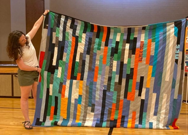 modern t-shirt quilt in bright colors