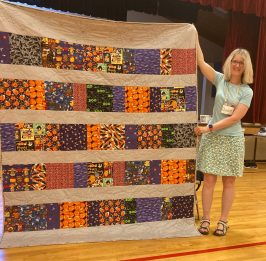quilt featuring halloween fabrics